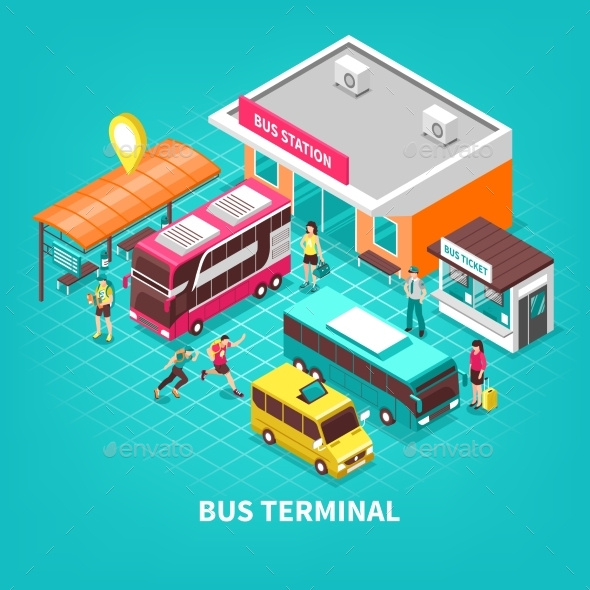 Bus Terminal Isometric Illustration - Travel Conceptual