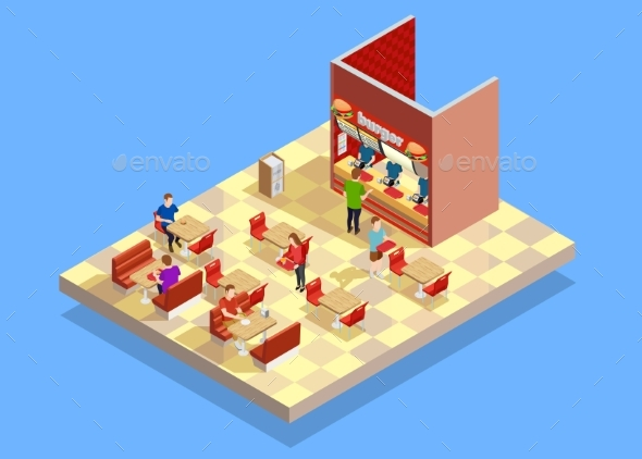 Food Court Counter Area Isometric Composition - Food Objects