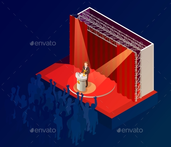 Music Award Winner Announcement Isometric Poster - Miscellaneous Conceptual