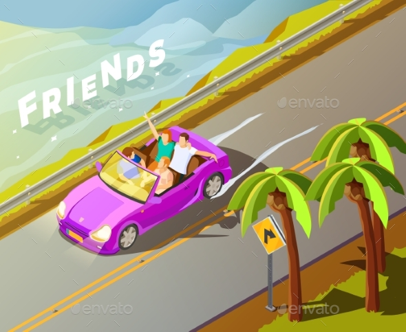 Friends Riding Car Isometric Travel Poster - Travel Conceptual