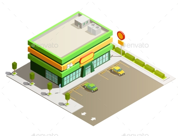 Supermarket Store Building Isometric Exterior - Retail Commercial / Shopping