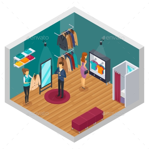 Trying Shop Isometric Interior Concept - Retail Commercial / Shopping