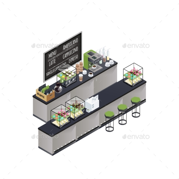 Isometric Coffee Bar Composition - Food Objects