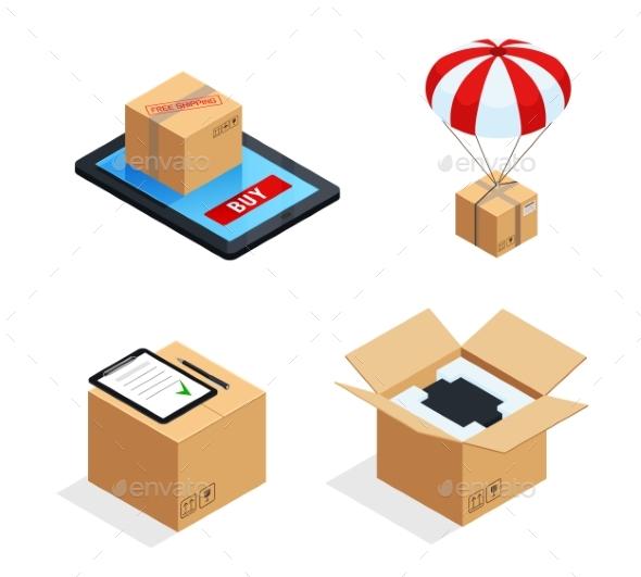 Parcel Delivery Stages Set - Miscellaneous Conceptual
