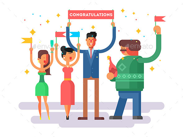 Congratulations Group People - People Characters
