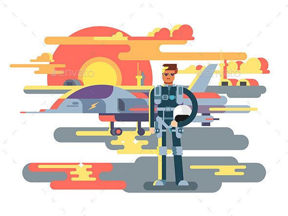 Military Pilot Man - People Characters