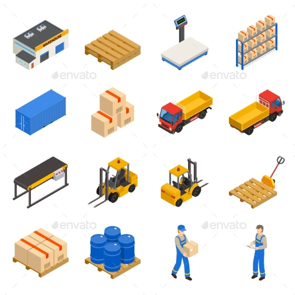 Warehouse Isometric Decorative Icons Set - Concepts Business