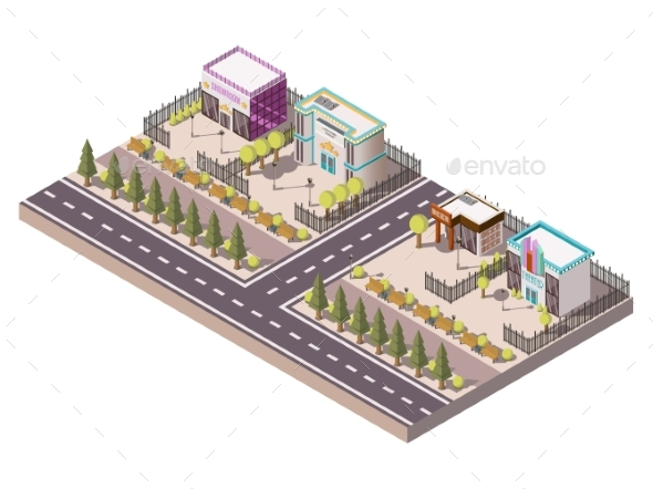 Entertainment Places Concept - Buildings Objects