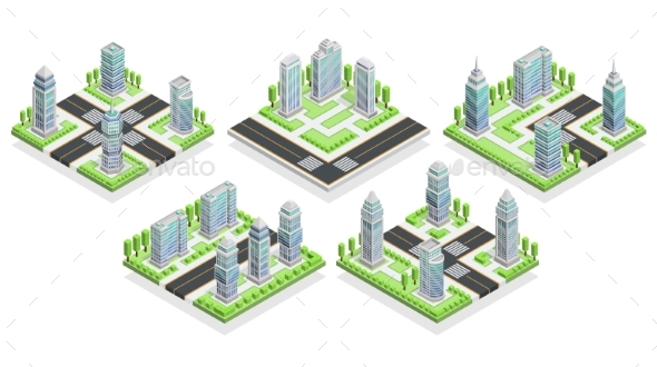 City Houses Isometric Composition - Man-made Objects Objects