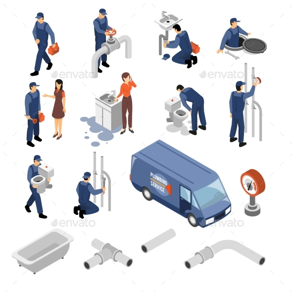 Plumber Isometric Icons Set - Services Commercial / Shopping