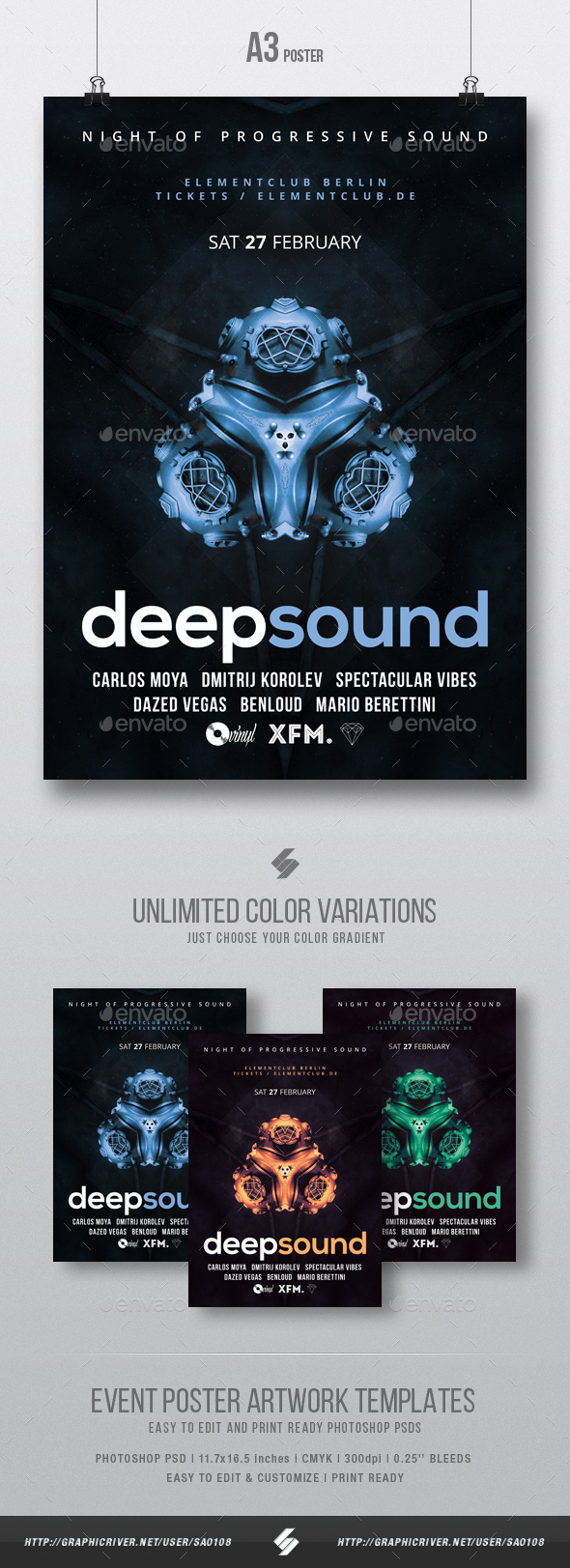 Deep Sound - Progressive Party Flyer / Poster Template A3 - Clubs & Parties Events
