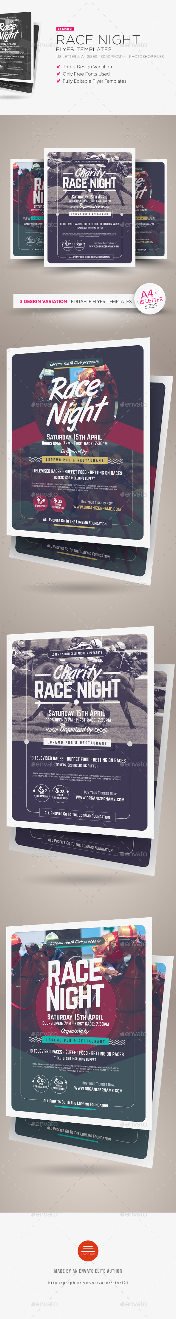 Race Night Flyer Templates - Miscellaneous Events