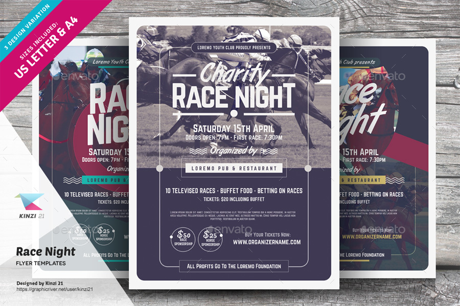 race night flyer templates by kinzi21