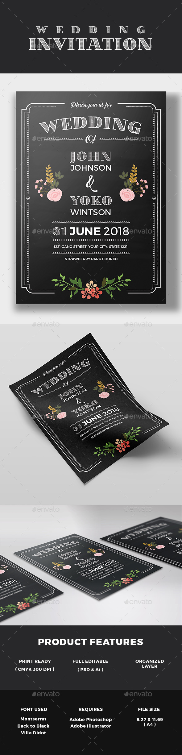 Chalkboard Style Wedding Invitation - Weddings Cards & Invites