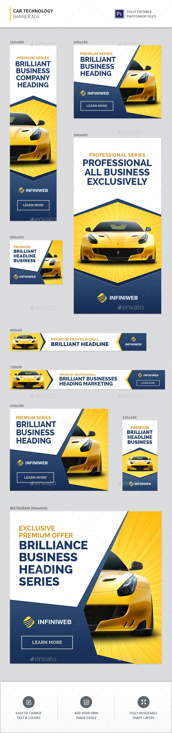 Car Technology Banners - Banners & Ads Web Elements