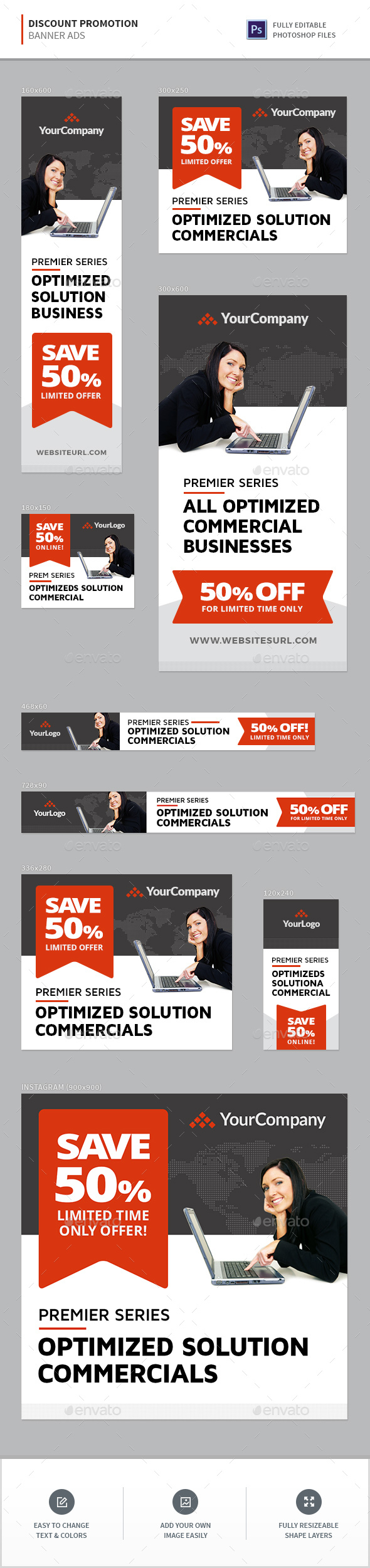 Discount Promotion Banners - Banners & Ads Web Elements