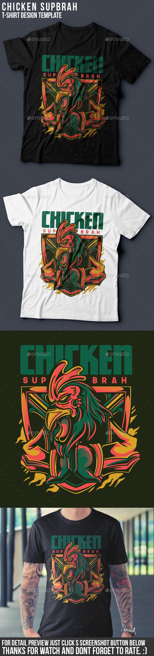 Chicken Sup Brah T-Shirt Design - Funny Designs