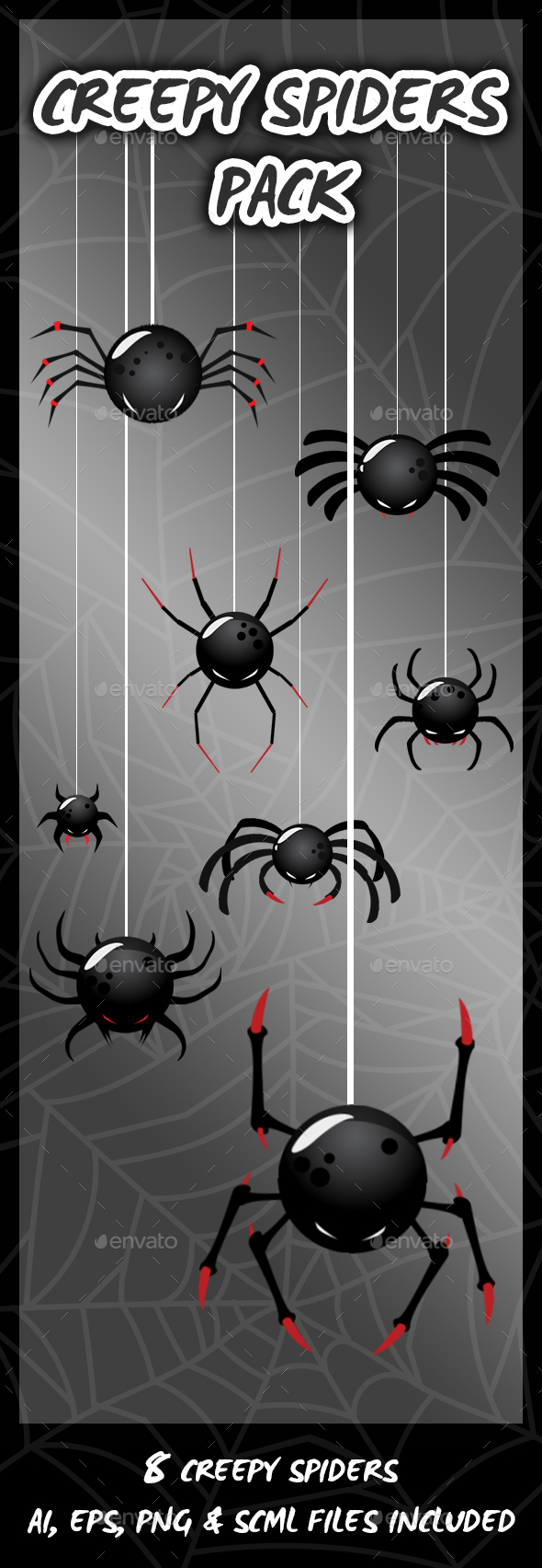 8 Creepy Spiders - Sprites Game Assets