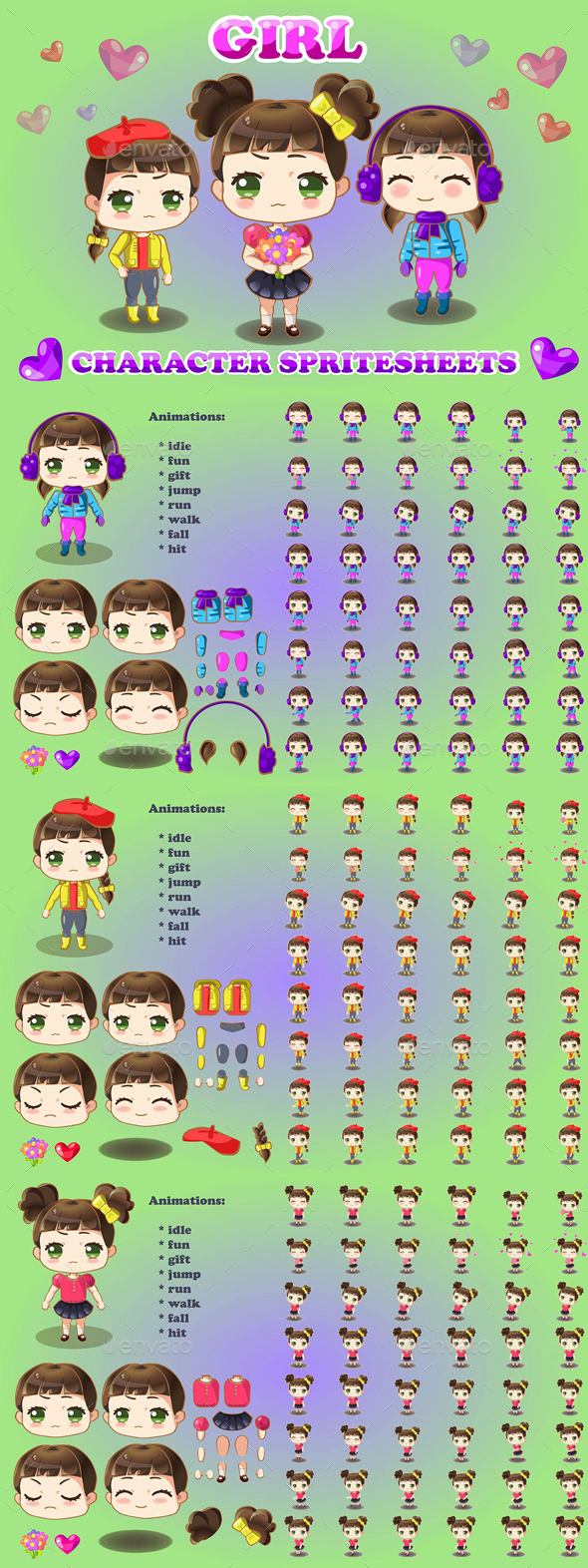 2D Chibi Girl Character Sprite - Sprites Game Assets