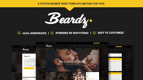 Beardz: Barbershop, Barbers & Hair Salon Interactive Template - Health & Beauty Retail