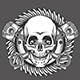 Skull with Pistons Against Motorcycle Gear Emblem - GraphicRiver Item for Sale