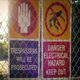 Warning Danger Signs On Fence - VideoHive Item for Sale