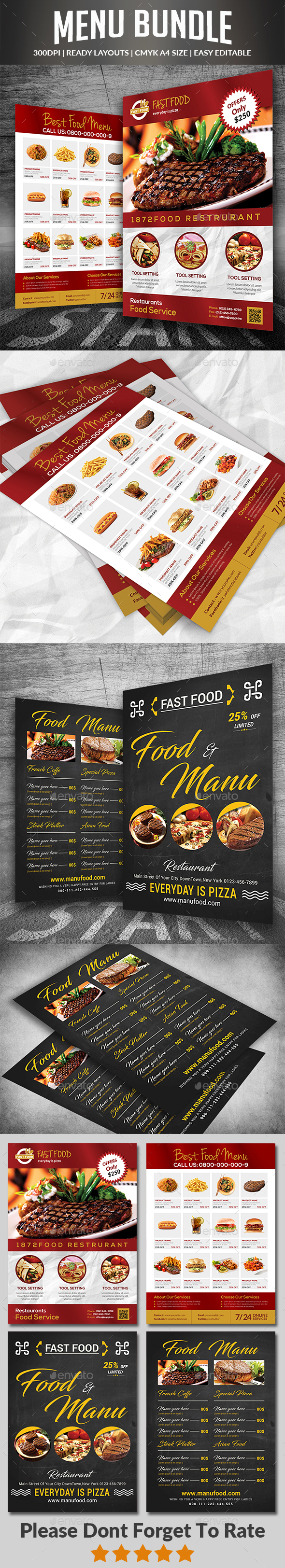 Food & Menu Bundle - Food Menus Print Templates