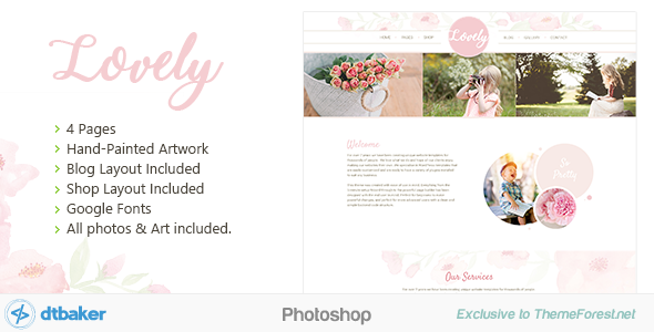Lovely – Soft Pink Floral Photoshop