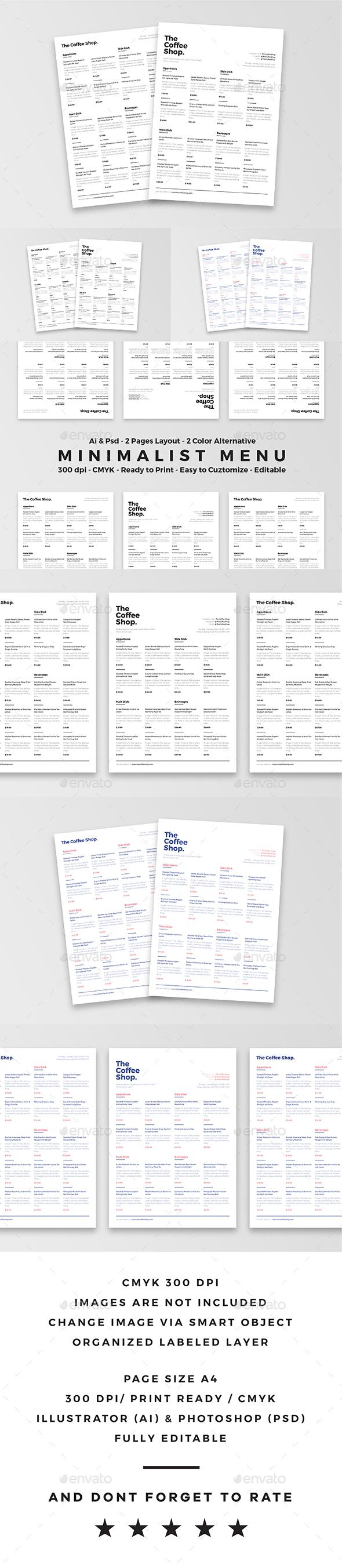 Minimalist Food Menu - Food Menus Print Templates