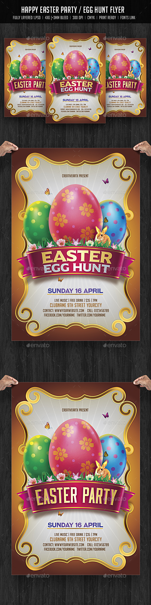 Easter Party / Egg Hunt Flyer - Events Flyers