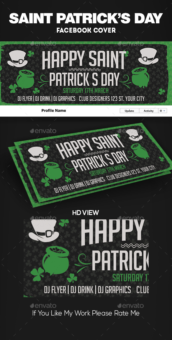 St. Patrick Facebook Cover Template - Facebook Timeline Covers Social Media