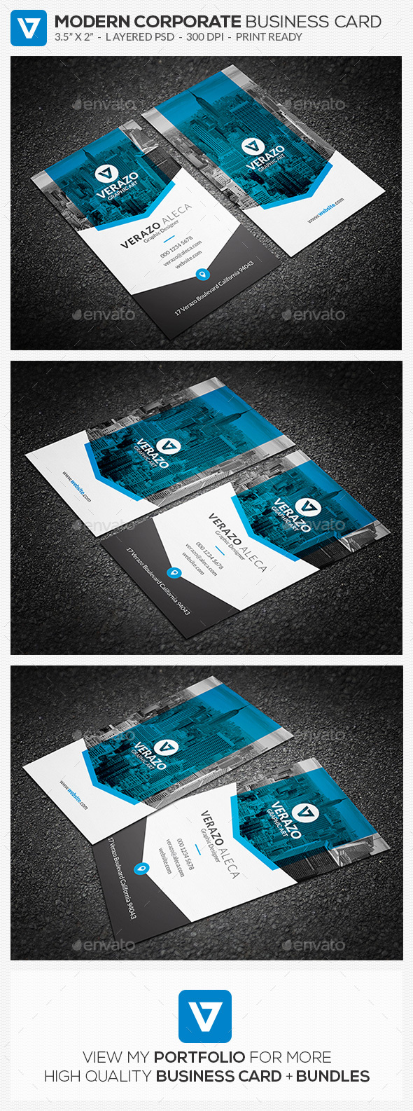 Clean modern vertical business card template by verazo graphicriver clean modern vertical business card template corporate business cards reheart Image collections