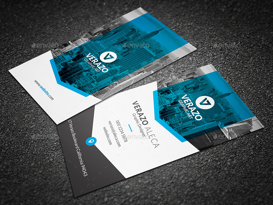 Clean & Modern Vertical Business Card Template by verazo | GraphicRiver