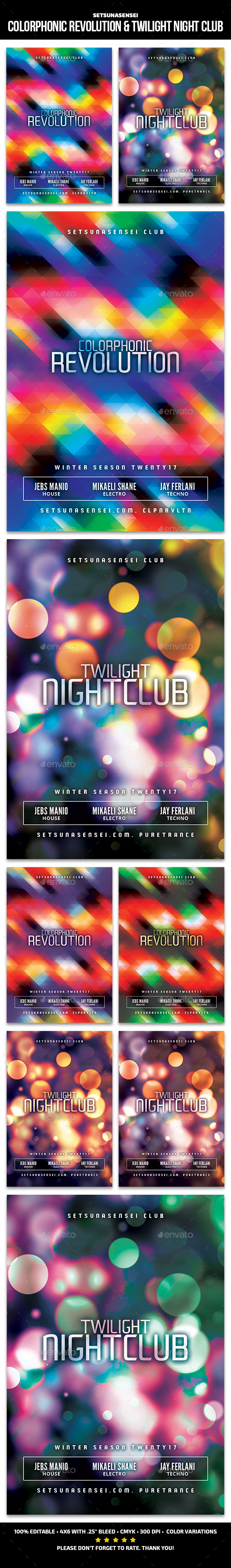 Colorphonic Revolution & Twilight Night Club Flyer - Clubs & Parties Events