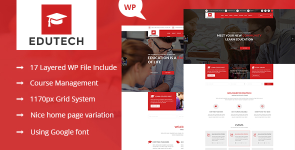 Edutech – Education, Course, Event & University WordPress Theme
