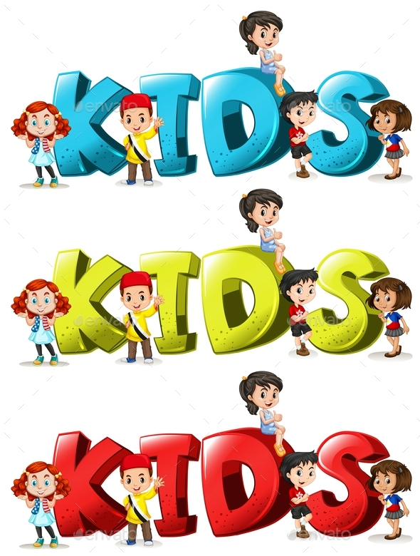 Font Design for Word Kids in Three Colors - People Characters