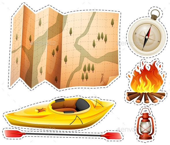 Camping Sticker set with Canoe and Map - Miscellaneous Conceptual
