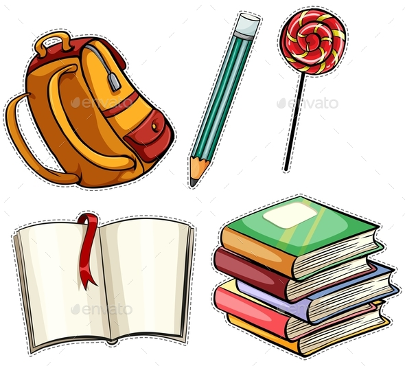 Sticker Set with Education Objects - Man-made Objects Objects
