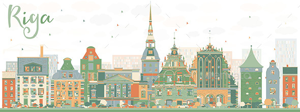 Abstract Riga Skyline with Color Landmarks - Buildings Objects
