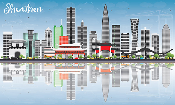 Shenzhen Skyline with Gray Buildings, Blue Sky and Reflections. - Buildings Objects