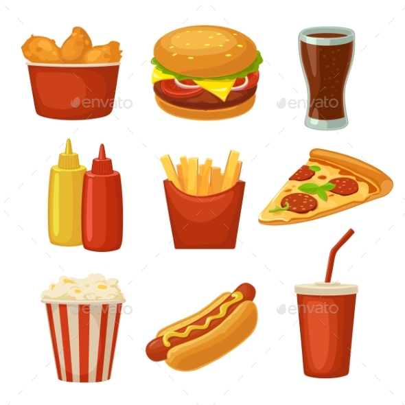 Set Fast Food Icon. Cup Cola, Chips, Burrito - Food Objects