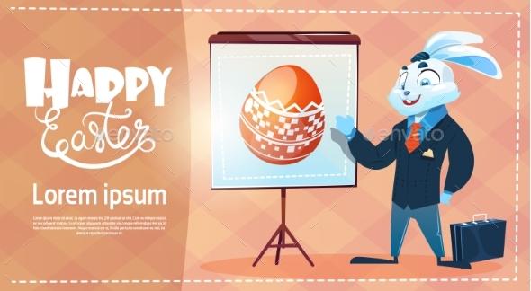 Rabbit Wear Suit Decorated Colorful Eggs Easter - Decorative Symbols Decorative