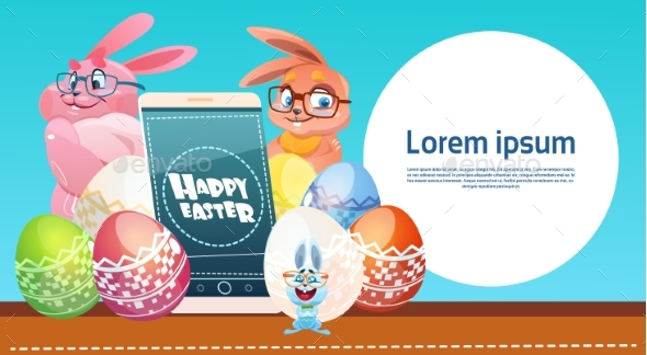 Rabbit Holds Smart Phone with Decorated Eggs - Miscellaneous Seasons/Holidays
