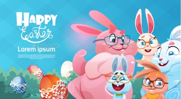 Rabbits with Decorated Colorful Eggs Easter Holiday - Miscellaneous Seasons/Holidays