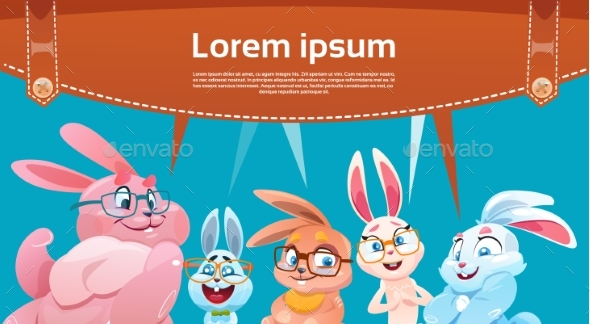 Rabbit Decorated Colorful Eggs Easter Holiday - Decorative Symbols Decorative