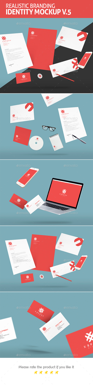 Realistic Branding & Identity Design Mockups - Stationery Print