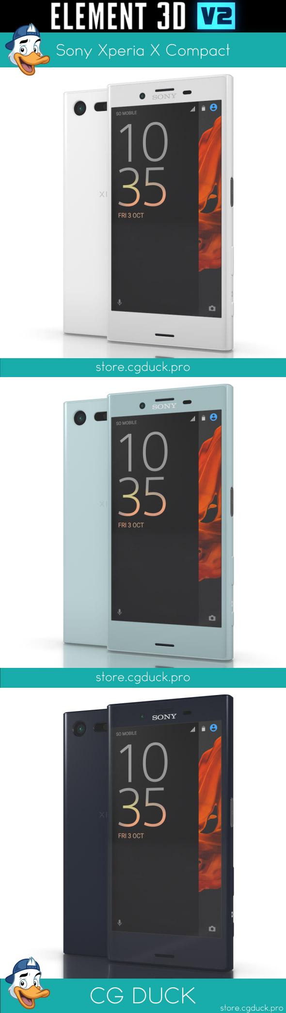 Sony Xperia X Compact for Element 3D - 3DOcean Item for Sale