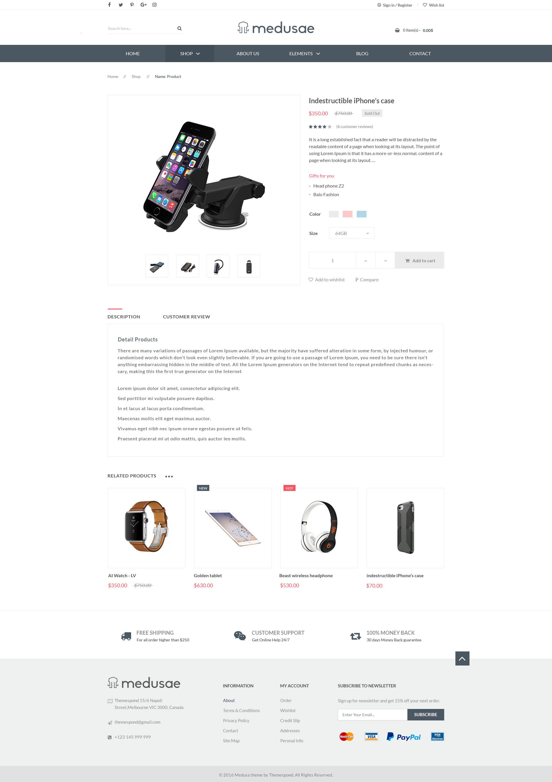 Medusae professional responsive ecommerce html based on bootstrap 3