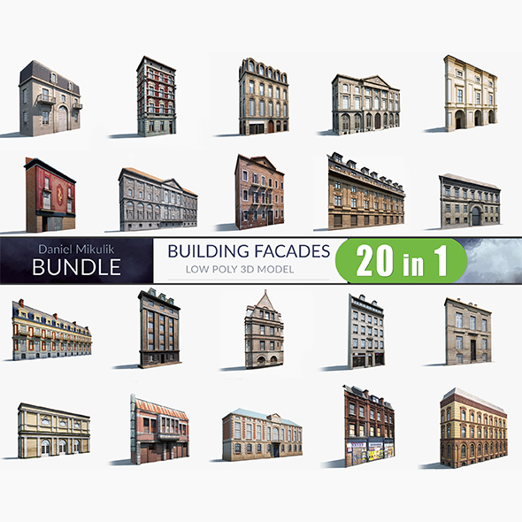 Building Facades BUNDLE - 3DOcean Item for Sale
