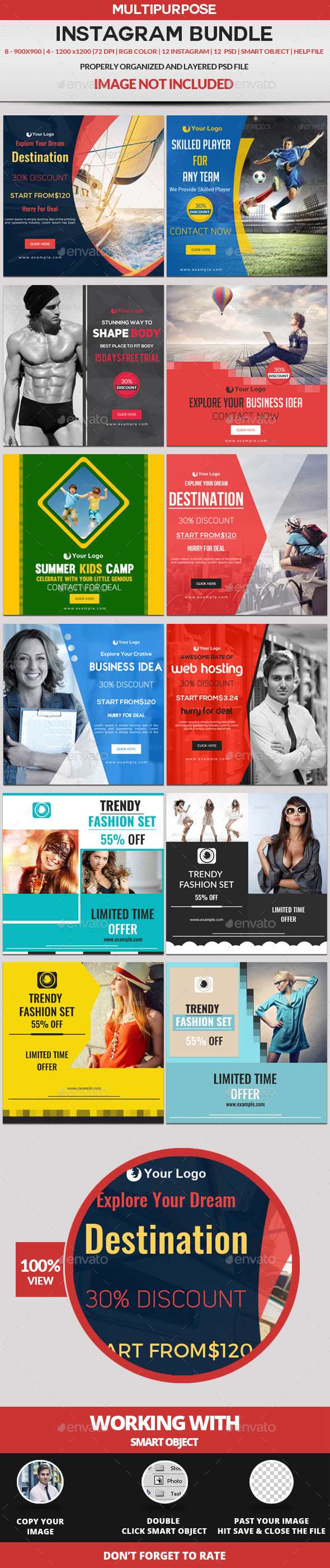 Instagram Bundle - Banners & Ads Web Elements